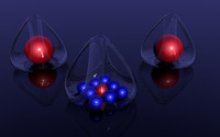 Red and blue orbs in glass baskets wallpaper 2560x1440 jpg