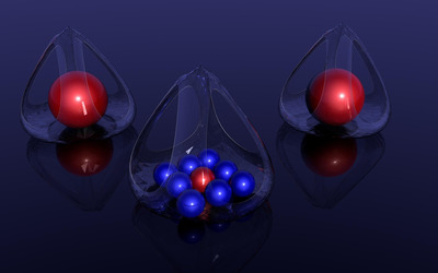 Red and blue orbs in glass baskets Wallpaper