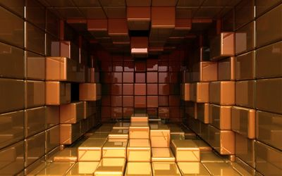 Red and golden cubes wallpaper