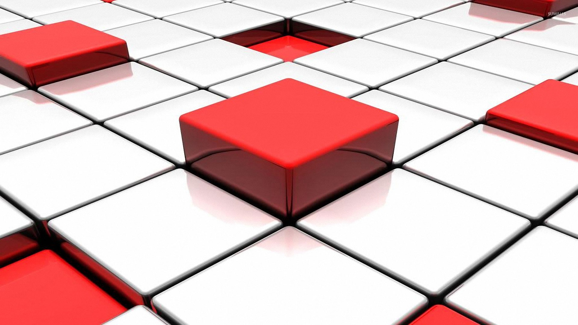 Red And White Cubes Wallpaper 3d Wallpapers 25335