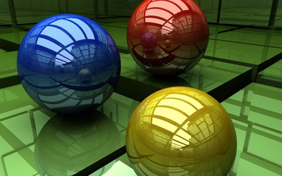 Red, blue and yellow sphere wallpaper