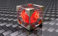 Red orb inside the transparent cube wallpaper 1920x1080 jpg
