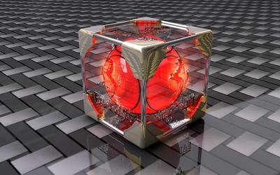 Red orb inside the transparent cube wallpaper