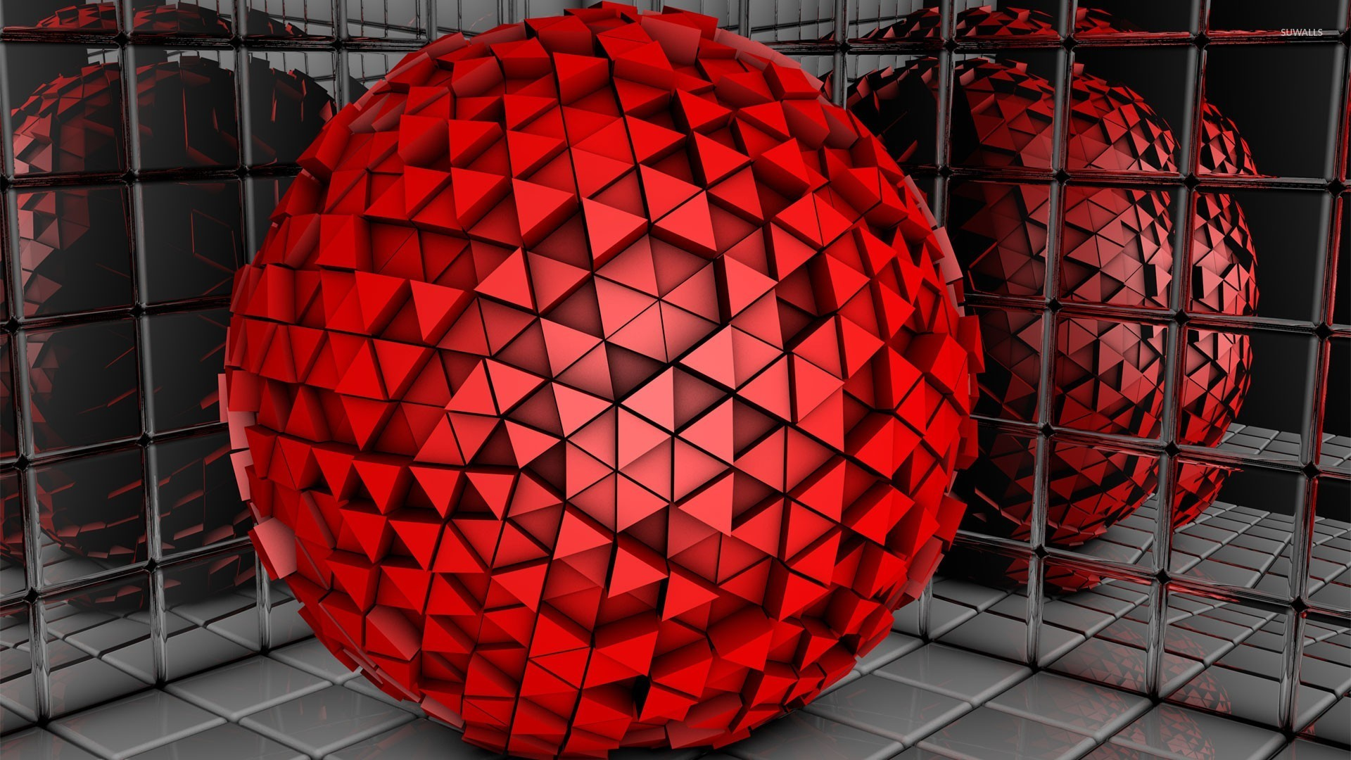 Red Sphere Made Of Triangles Wallpaper 3d Wallpapers