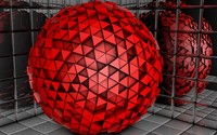 Red sphere made of triangles wallpaper 1920x1080 jpg
