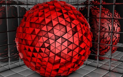 Red sphere made of triangles wallpaper
