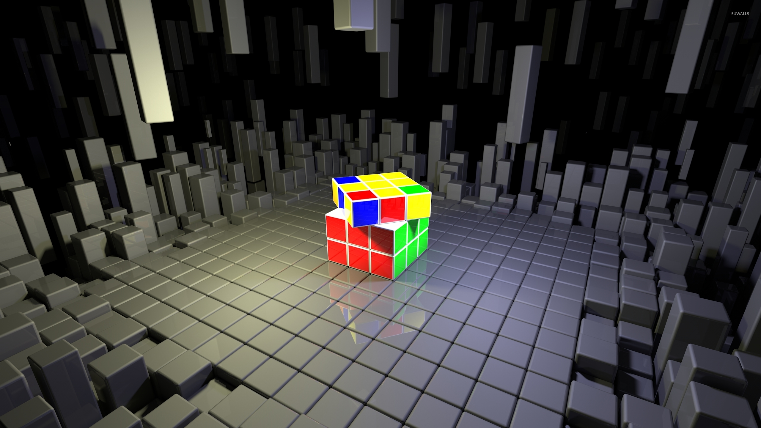 Rubiks Cube On Top Of Gray Cubes Wallpaper 3d Wallpapers