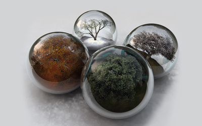 Seasons in glass spheres wallpaper