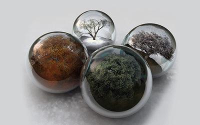 Seasons in glass spheres Wallpaper