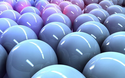 Shiny blue spheres wallpaper