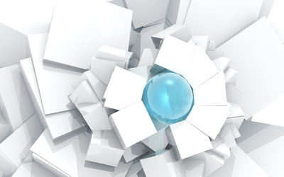 Sphere surrounded by cubes wallpaper