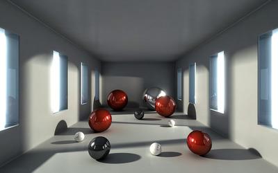 Spheres in narrow room wallpaper