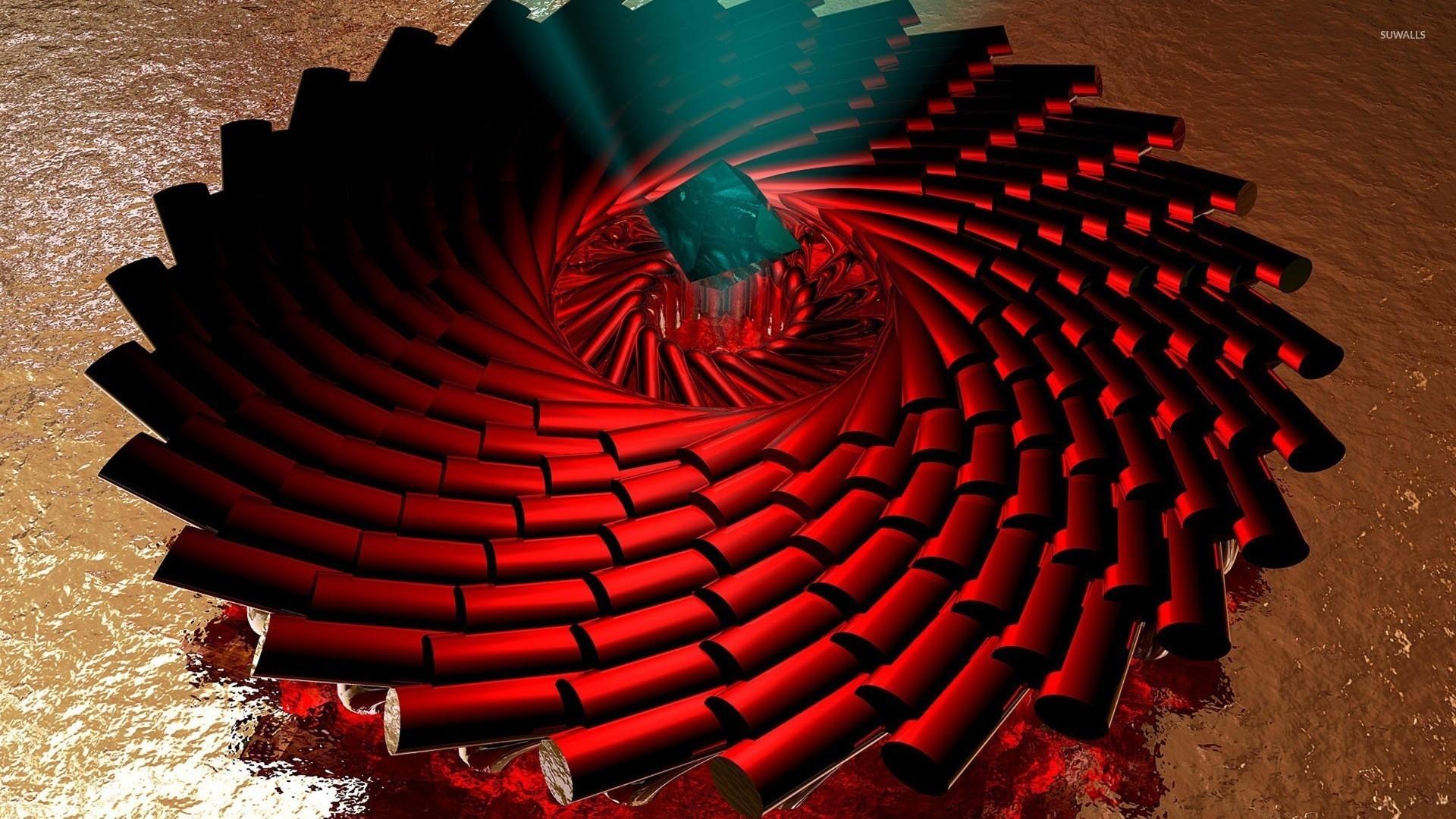 Spiraling red pillars wallpaper 3d wallpapers 24536 for Red 3d wallpaper