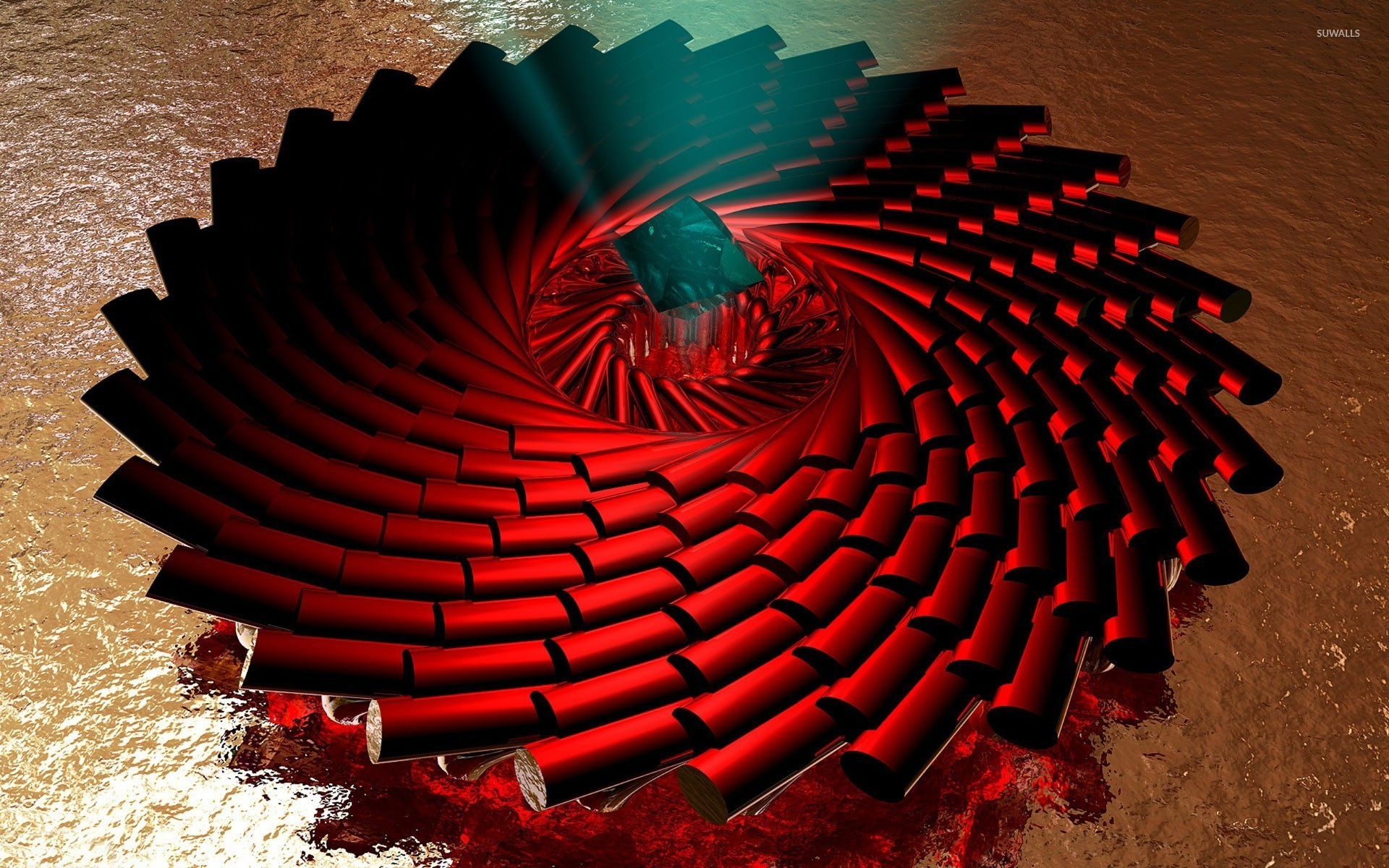 Spiraling red pillars wallpaper 3d wallpapers 24536 for 3d wallpaper red