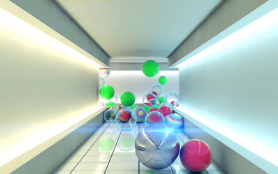 Spheres in a hallway wallpaper