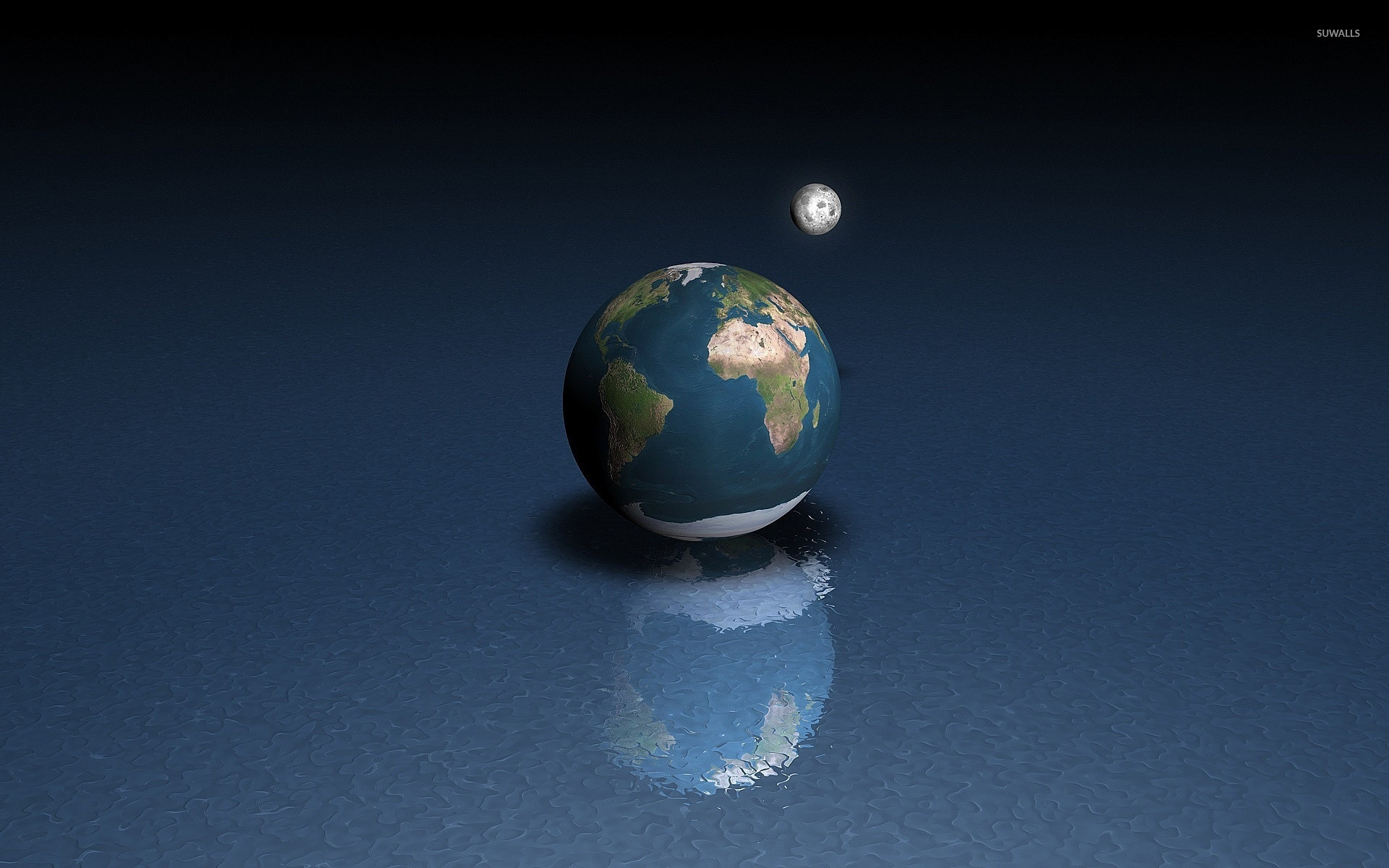 the earth and the moon wallpaper - 3d wallpapers - #27175
