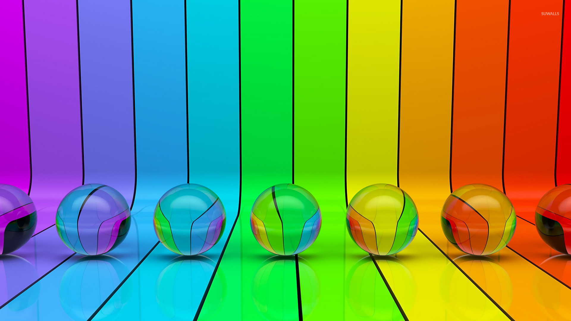 Transparent Spheres On Rainbow Stripes Wallpaper 3d HD Wallpapers Download Free Images Wallpaper [1000image.com]