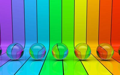 Transparent spheres on rainbow stripes wallpaper