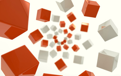 White and orange floating cubes wallpaper