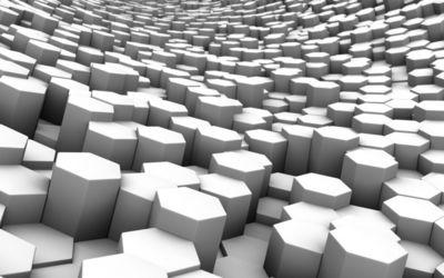 White hexagon prisms wallpaper