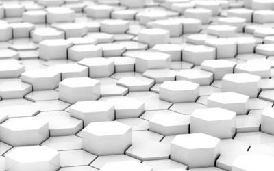 White hexagons wallpaper