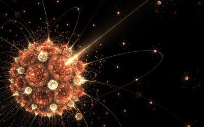 Atoms circling the bright sun wallpaper