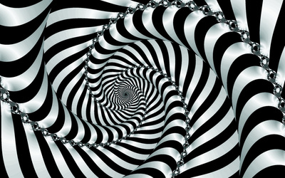 Black and white hypnotic swirl wallpaper