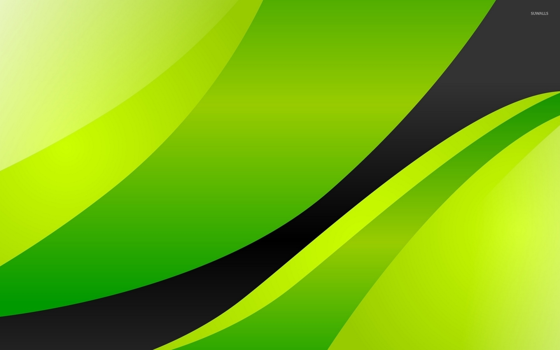 Black shape surrounded by green stripes wallpaper Abstract