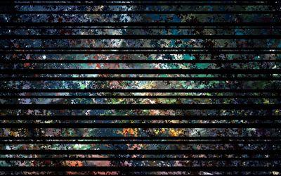 Black stripes on colorful pattern wallpaper