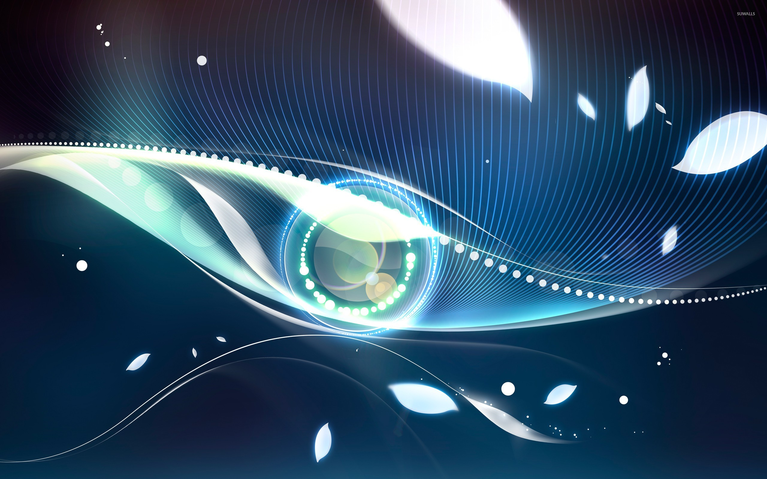 blue eye surrounded by glowing leaves wallpaper - abstract wallpapers