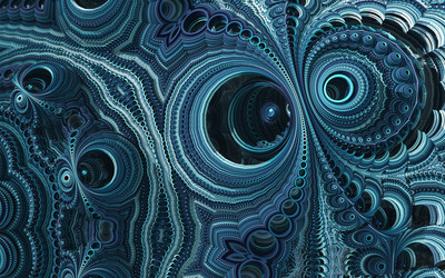 Blue fractal swirls wallpaper