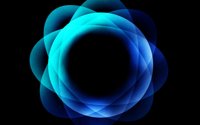 Blue glowing circles piled up wallpaper