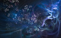 Blue swirls and bright flowers wallpaper 1920x1200 jpg