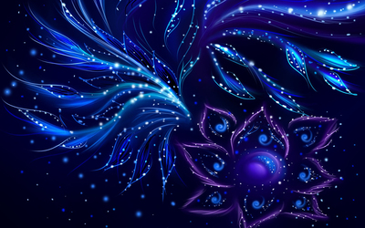 Blue swirls on the purple flower wallpaper