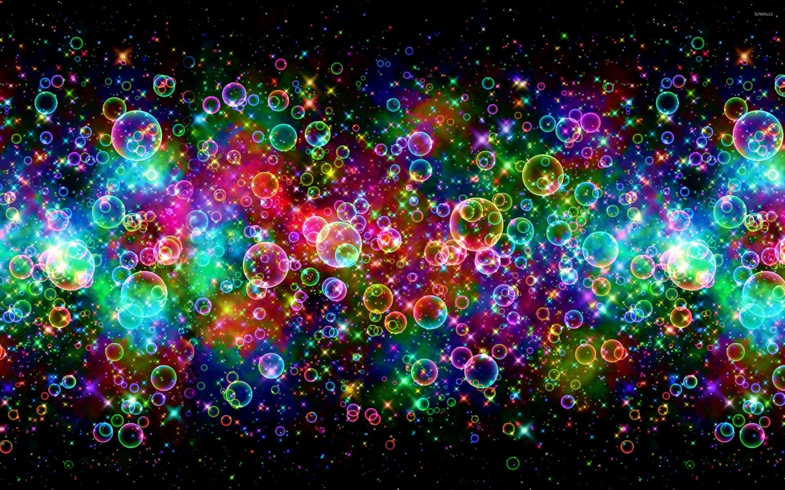 Bright Colors Reflected On The Bubbles Wallpaper Abstract