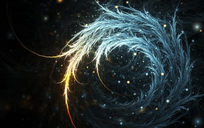 Bright swirl between bright sparks wallpaper