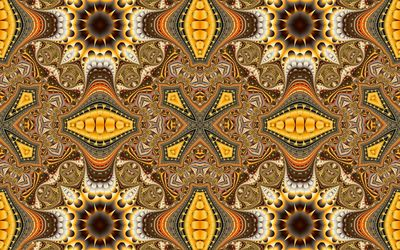 Brown and yellow fractal shapes wallpaper