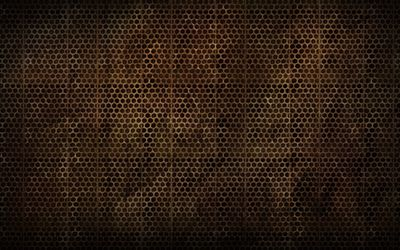Brown metallic grid pattern wallpaper