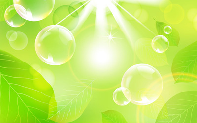 Bubbles and green leaves [2] wallpaper