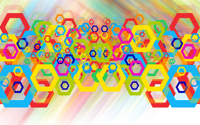 Colorful hexagons wallpaper