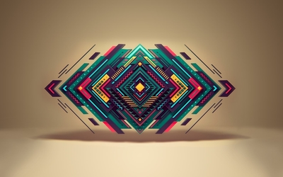 Colorful shapes floating wallpaper