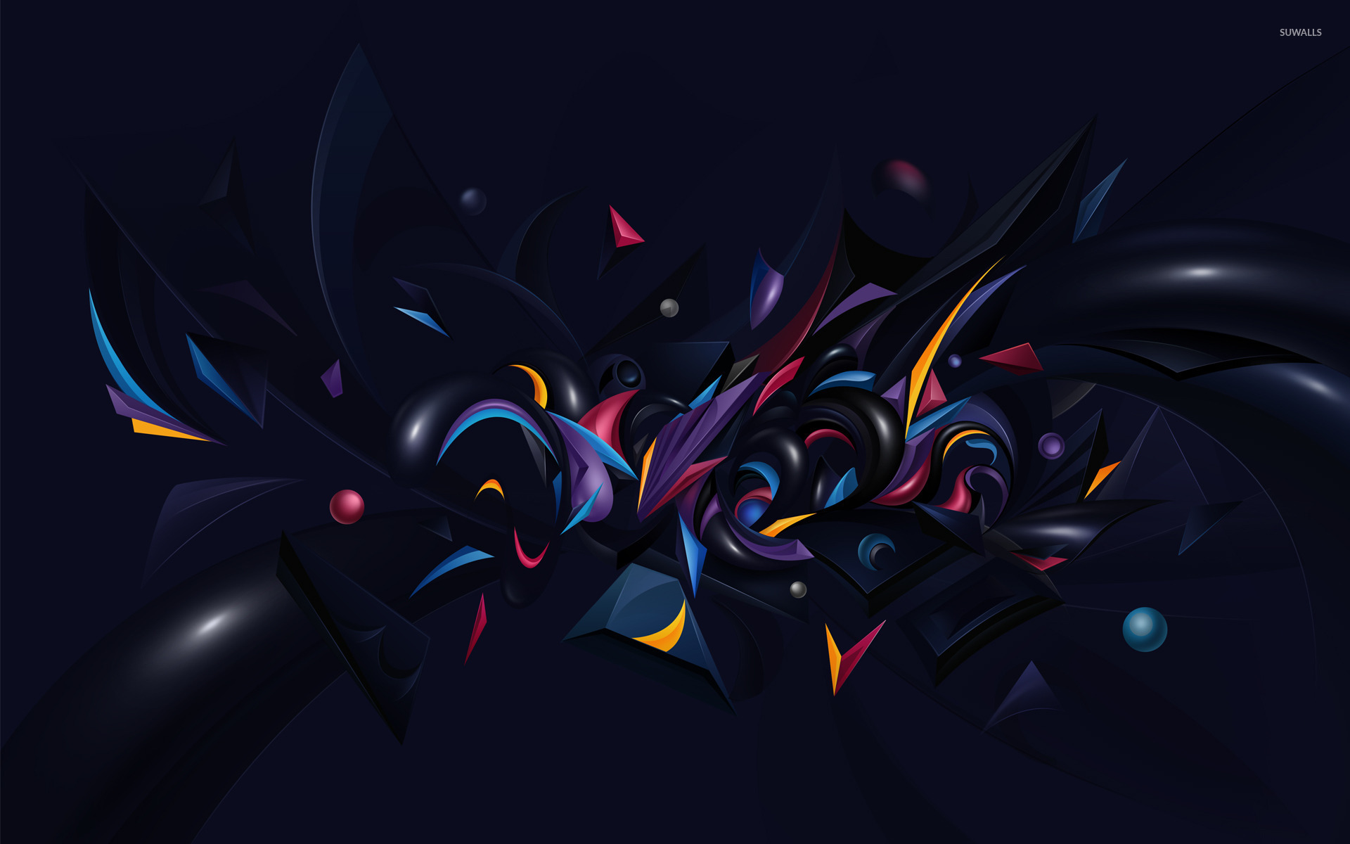 Colorful Shapes On A Dark Background Wallpaper Abstract