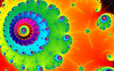 Colorful spiral fractal wallpaper