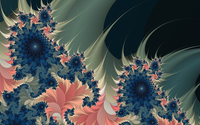 Dark blue swirls mixed with warm colored shapes wallpaper 1920x1080 jpg