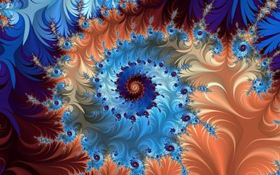 Dark swirls piercing through the warm colors Wallpaper