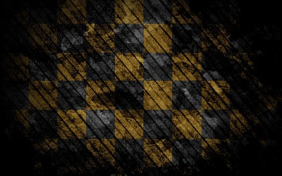 Diagonal lines over checkered floor wallpaper