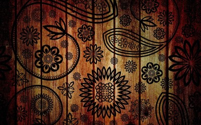 Floral pattern on wood wallpaper