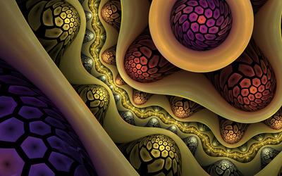 Fractal honeycomb patterned balls wallpaper