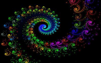 Fractal neon spiral wallpaper