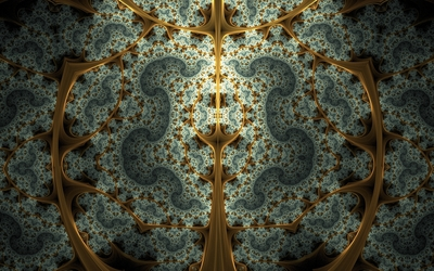 Fractal swirls inside the golden bars wallpaper